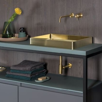 Badkamer Lanesto Vanity Gold wasbak en kraan